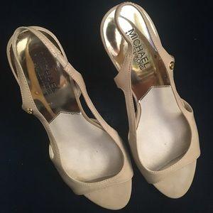 Michael Kors nude peep toe sling back heels